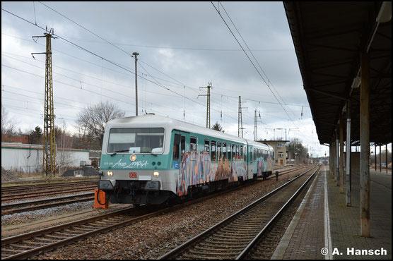 628 486/673 war Anfang des Jahres 2020 für einige Zeit zw. Glauchau und Gößnitz im Einsatz. Am 5. Februar wartet der arg beschmierte Triebwagen im Bf. Gößnitz auf die Rückfahrt nach Glauchau