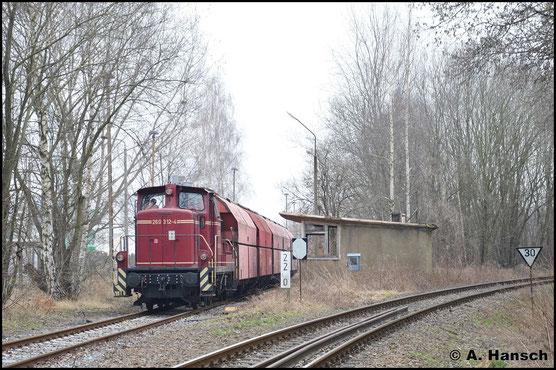 Am 28. Februar 2016 konnte 360 312-3 (BGL 312-4) in Chemnitz-Glösa beim Rangieren von leeren Gipswagen zum HKW beobachtet werden