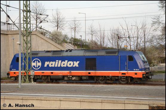 Am 30. März 2019 ist auch 076 110-0 bei Raildox angestellt. Hier steht sie im Bf. Dessau