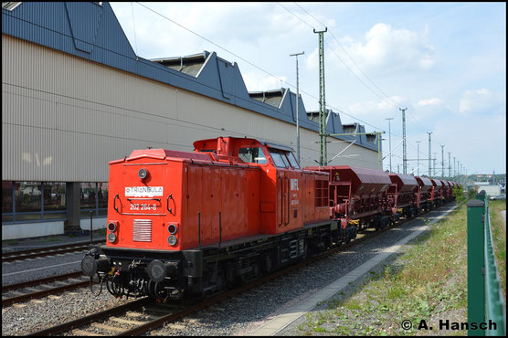 Nächste Mietstation von 202 264-8 ist die Triangula Logistik Service GmbH. Am 24. Mai 2019 steht sie in Diensten der Gelenauer Firma in Chemnitz Hbf.