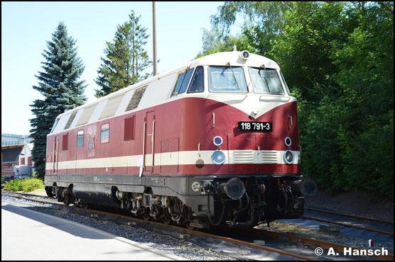 """Zum Jubiläum """"150 Jahre RAW Chemnitz"""" am 29. Juni 2019 war 118 791-3 aus Löbau zu Gast."""