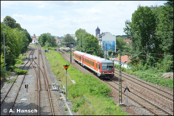 Am 29. Juli 2017 ist 928/628 591 als Lr-G 27592 nochmal ins AW Chemnitz unterwegs. Diesmal entstand ein Bild von der Zschopauer Straße in Chemnitz aus