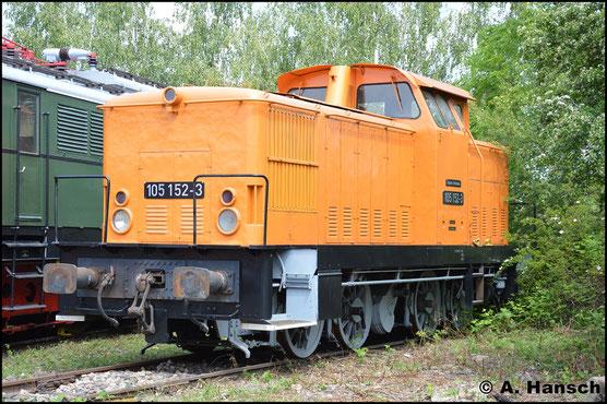 Bei 105 152-3 handelt es sich um 345 152-3 (ex MEG 86), die wieder in ihren Originalzustand zurück versetzt werden soll. Am 28. Mai 2016 steht sie im Bw Weimar