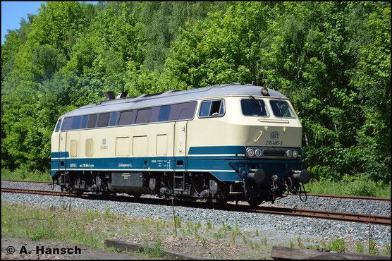 Ein Jahr später zum gleichen Anlass, am 28. Mai 2017, ist 218 480-2 wieder in Schwarzenberg zu Gast. Ihr Äußeres hat sich jedoch stark verändert