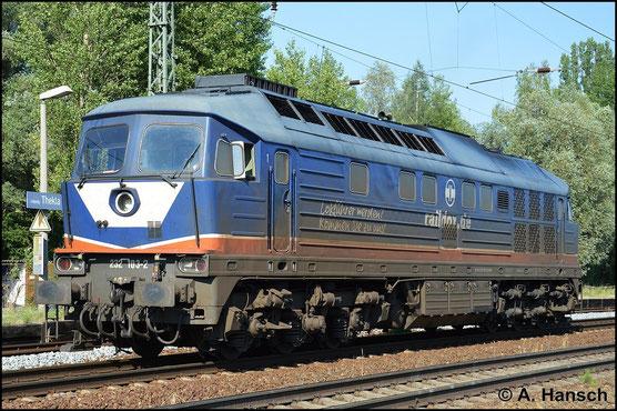 232 103-2 besitzt eine interessante Lackierung. Ihr Arbeitgeber ist die Raildox GmbH. Am 6. Juli 2015 erwischte ich die Lok in Leipzig-Thekla