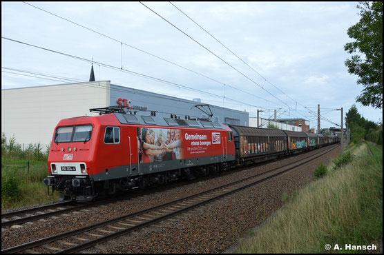 Auch am 25. August 2021 schleppt 156 004-4 den GA 60073 von Braunschweig nach Mosel. In Chemnitz-Schönau konnte ich so die andere Seite der Lok in Augenschein nehmen