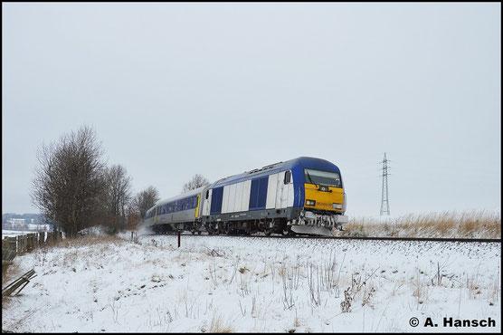 Ein weiteres Bild der Lok entstand am 17. Januar 2016 in Herrenhaide. Der RE6 aus Leipzig ist dem Ziel Chemnitz Hbf. schon recht nahe