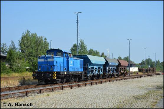 Auch 345 209-1 gehört der PRESS und ist dort als 346 004-3 nummeriert. Am 23. Juli 2018 konnte ich die Lok in Chemnitz-Süd bei Rangierarbeiten beobachten
