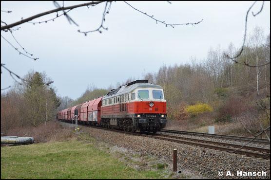 """""""Polenflagge"""" 232 128-9 hat mit dem Leergips nach Küchwald am 17. März 2020 das Ziel fast erreicht"""