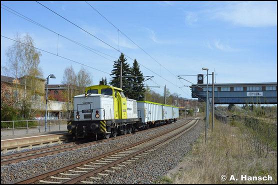 Hinter ITL/Captrain 106 008 verbirgt sich 345 284-4, die am 16. April 2020 mit 3 Wagen von Pirna nach Glauchau unterwegs ist. Am Hp Chemnitz-Hilbersdorf konnte ein Bild der modellbahngerechten Fuhre entstehen