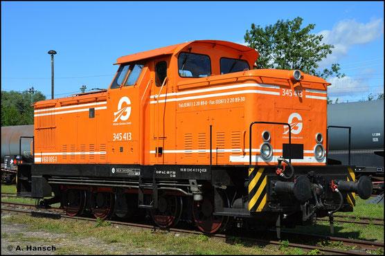 345 413-9 (EGB V60 105-1) gehört der Erfurter Gleisbau GmbH und ist am 31. Juli 2021 im Bw Weimar ausgestellt
