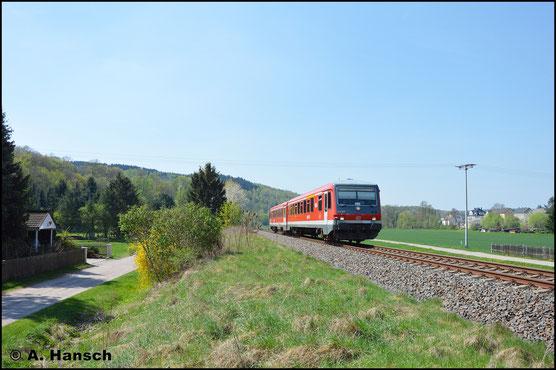 In Falkenau erwischte ich den Triebwagen am 22. April 2018 ein weiteres mal