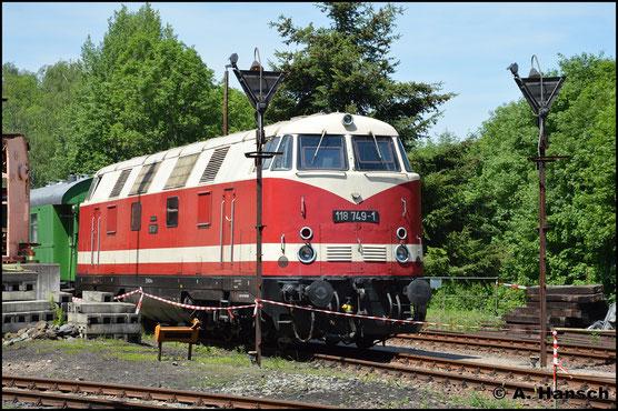 118 749-1 ist im Bw Arnstadt beheimatet. Am 2. Juni 2019 ist sie in Schwarzenberg zu Gast
