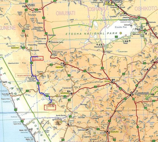 Von der Khowarib Lodge zurück nach Twyfelfontein