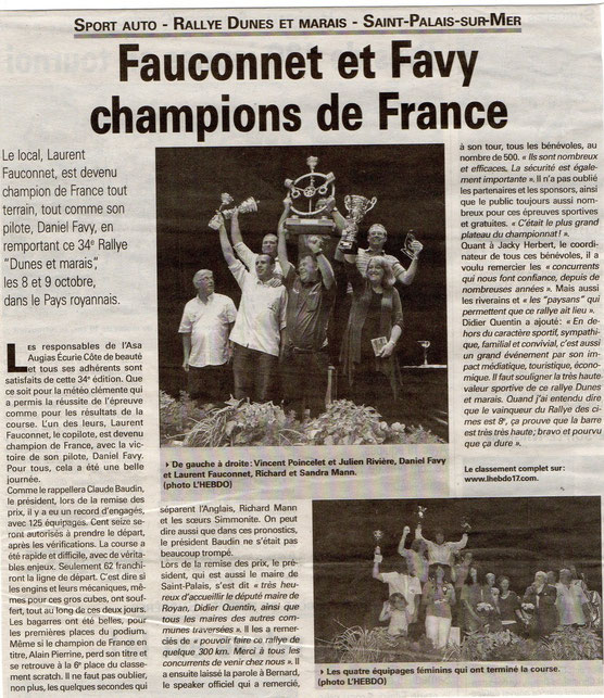 Article Journal l'Hebdo - 20 octobre 2011