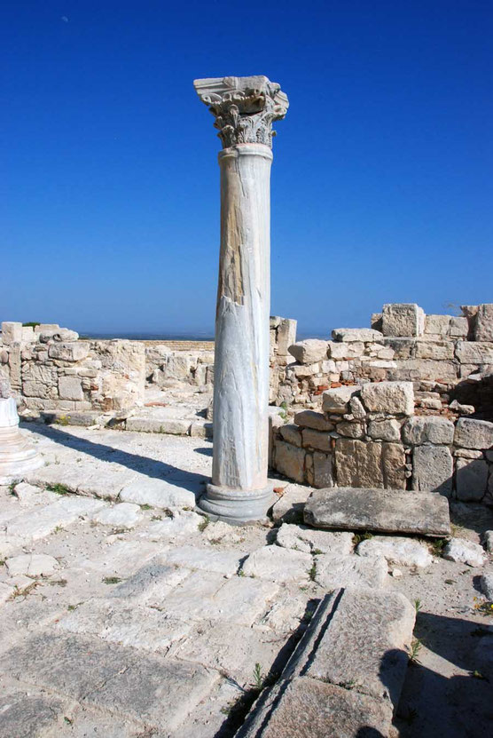 Pillar and early moon, 5th century baptistry , Kourion