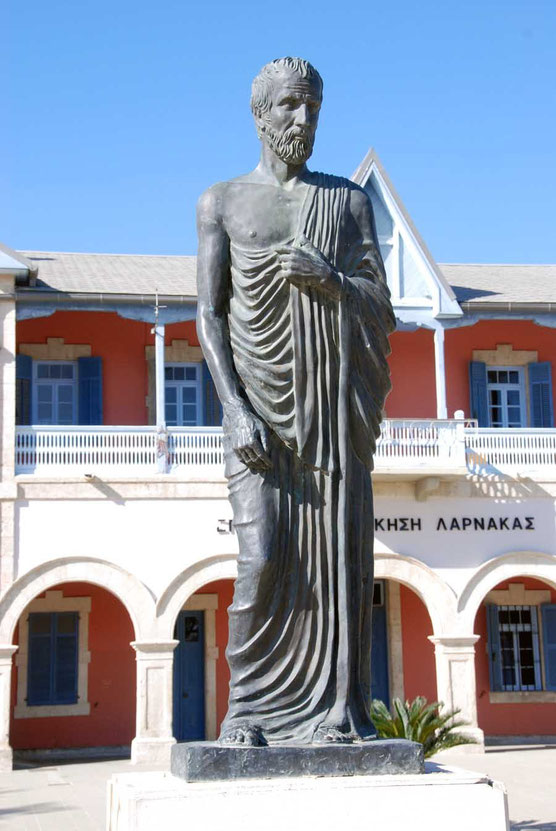Bronze statue of Zeno of Kition 352-255 BC, founder of the Stoic school of philosophy, by Kikis Patsalos, Larnaca.