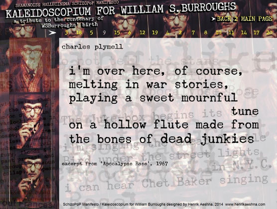 KALEIDOSCOPIUM FOR WILLIAM-BURROUGHS - Shamanoise Hallucinema  SchizoPoP-Manifesto by Henrik-aeshna - charles-plymell