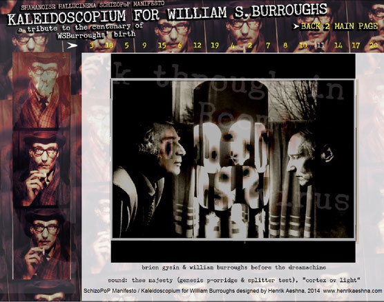 KALEIDOSCOPIUM FOR WILLIAM-BURROUGHS - Shamanoise Hallucinema  SchizoPoP-Manifesto by Henrik-aeshna brion-gysin-dreamachine