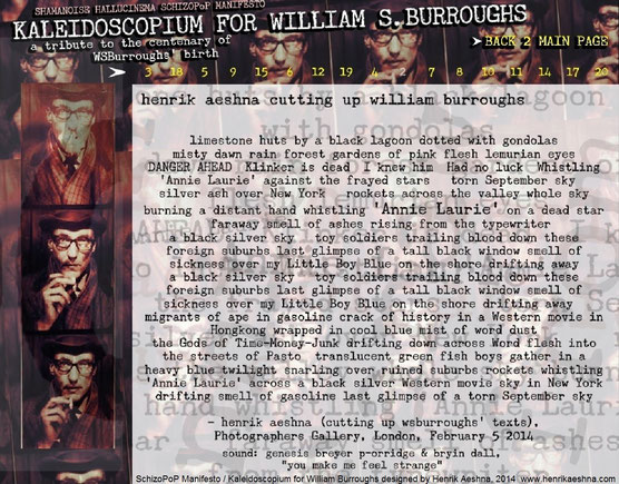 KALEIDOSCOPIUM FOR WILLIAM-BURROUGHS - Shamanoise Hallucinema  SchizoPoP-Manifesto by Henrik-aeshna cut-up london