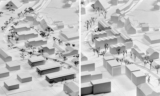 Modellbild Siegerprojekte (Flury und Rudolf Architekten / Stücheli Architekten)