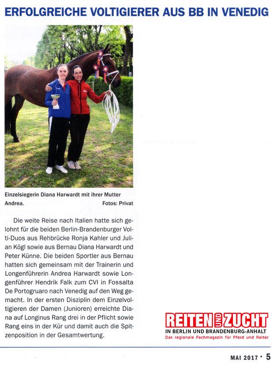 """Siegbeim CVI Fossalta für den RVI, dieser Artikel erschien in der Ausgabe Mai 2017 """"Reiten und Zucht"""""""