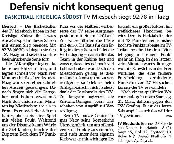 Bericht im Miesbacher Merkur am 10.3.2020 - Zum Vergrößern klicken