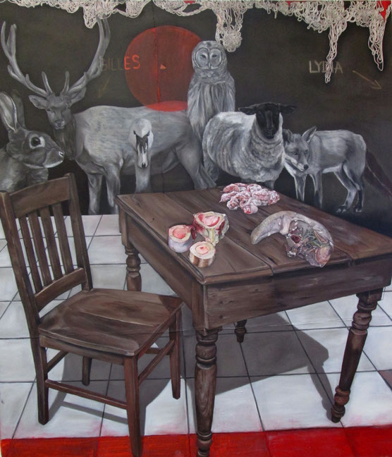 table for two (goodspeed gilles et lydia) . 2013 . 200x175 . oil on canvas