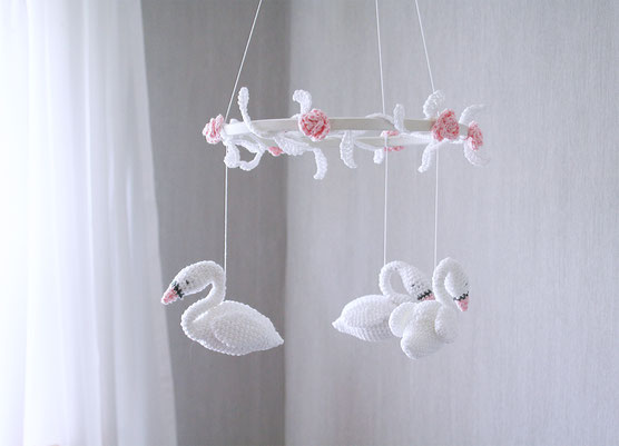 #babymobile 3 bunnys with hearts