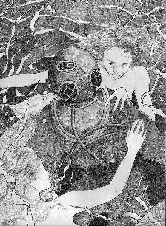 Laura Wilson illustration, mermaids