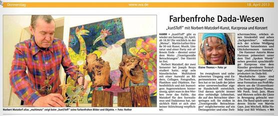 Artikel: Lizenz/WA  Hamm, 18.02.2013 - Multikünstler Norbert Matzdorf