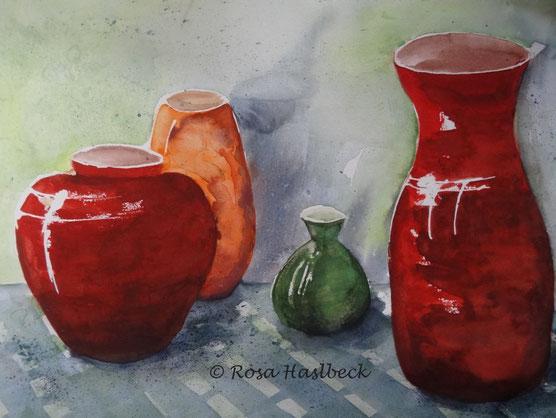 aquarell, stillleben, vasen, rot, orange, grün, blau, , bild, handgemalt,  kunst, bild, wanddekoration, geschenkidee, dekoration, wandbild, art, malen, malerei