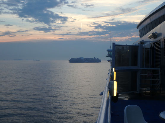 Bild: Blick von unserer Fähre von Rotterdam nach Hull