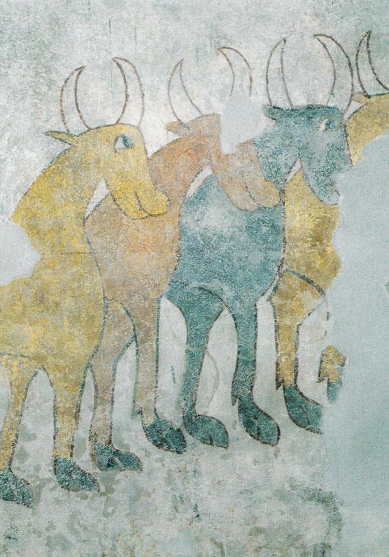 Rinderherde. Fresko an der Westwand von St. Prokulus in Naturns