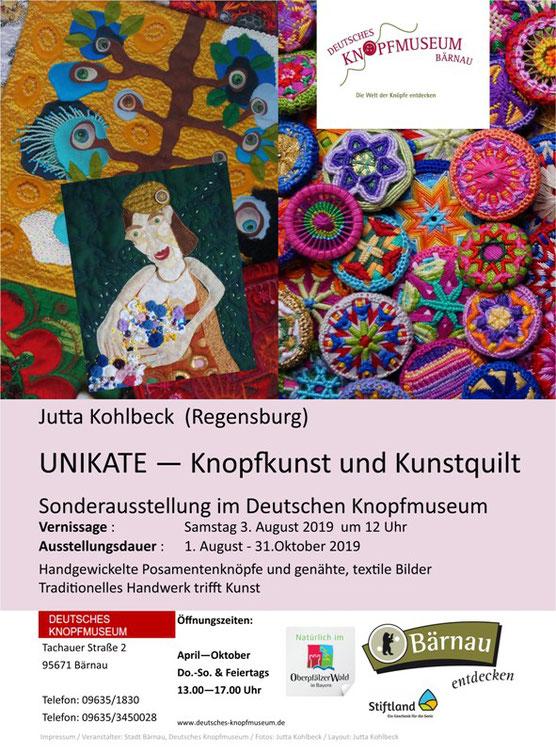 Plakat zur Ausstellung der Posamentenknöpfen, Kunstquilts und Zeichnungen  von Jutta Kohlbeck