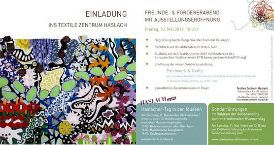 Einladung zur Ausstellungseröffnung der 7. Europäischen Quilttriennale in Haslach Austria; Die Einladung zeigt ein Bilde des Art Quilts : Topographity von Jutta Kohlbeck und gibt Informationen zur Ausstellung