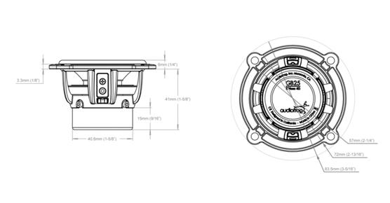 Skizze GB25 Audiofrog Lautsprecher
