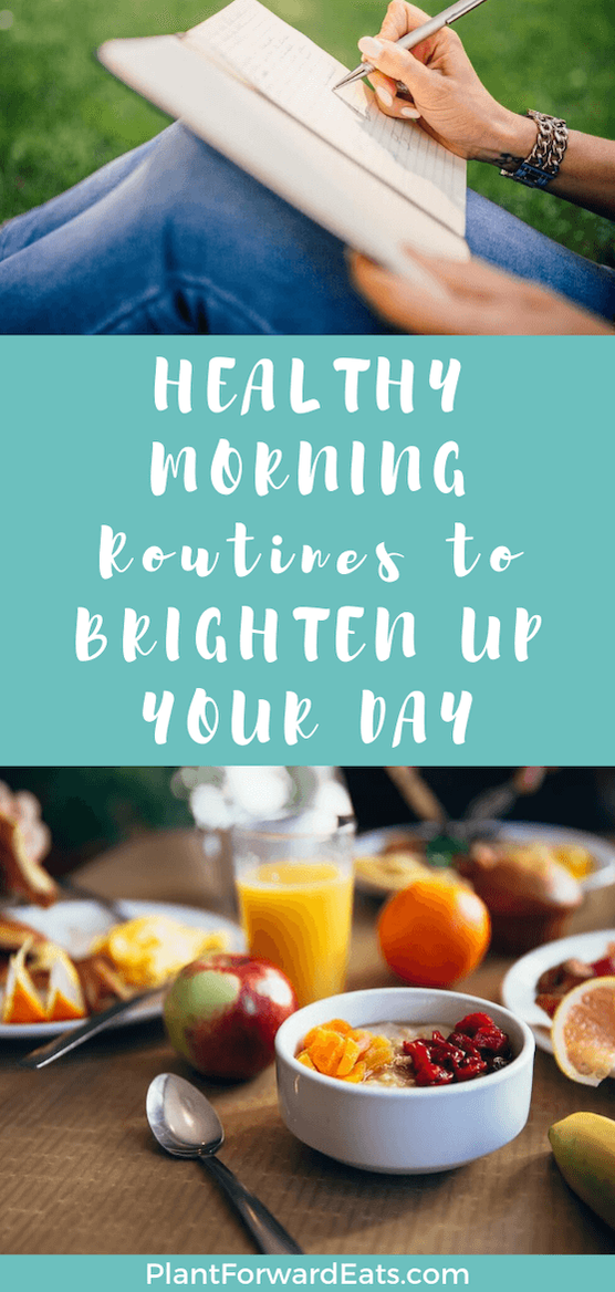 From eating a healthy breakfast to making sure you slow down and savor the moment, here are morning routine ideas to make you healthier and happier on daily basis. #amyseatlist #morningroutine #healthybreakfastideas #healthydailyroutine #gethealthier