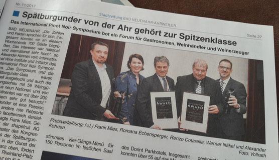 Werner Näkel vom Weingut Meyer-Näkel an der Ahr für sein Engagement ausgezeichnet