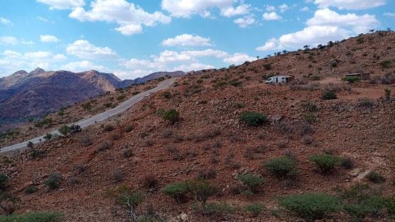 Wohnmobil auf einem campsite am Pass