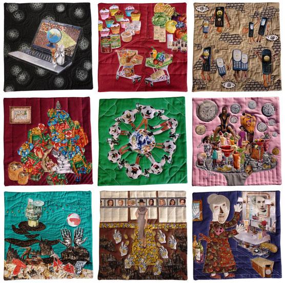 Artquilt genäht von Jutta Kohlbeck / 9 genähte Collagen zum Thema: Zeichen der Zeit / Teilnahme an der gleichnahmigen Ausstellung organisiert von Gudrun Heinz