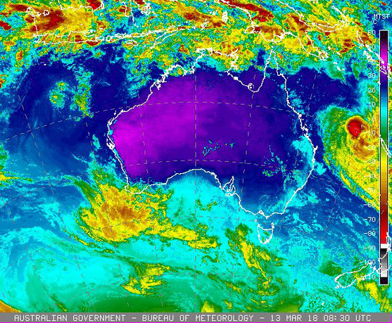 Colourised satellite image of Tropical Cyclone Linda in the Coral Sea, 13/03/2018. Image from www.bom.gov.au.