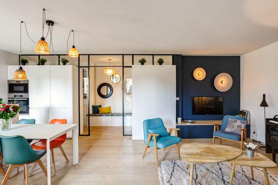 Décoration d'intérieur, salon, salle à manger, décoration, design, loft, pièce de vie, Décoratrice d'intérieur Boulogne-Billancourt, salon, séjour, déco industrielle