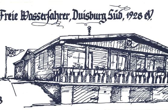 Tuschezeichnung unseres alten Bootshauses, gezeichnet von Jörg Trabert