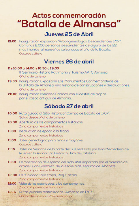 Programa de Actos de la Batalla de Almansa