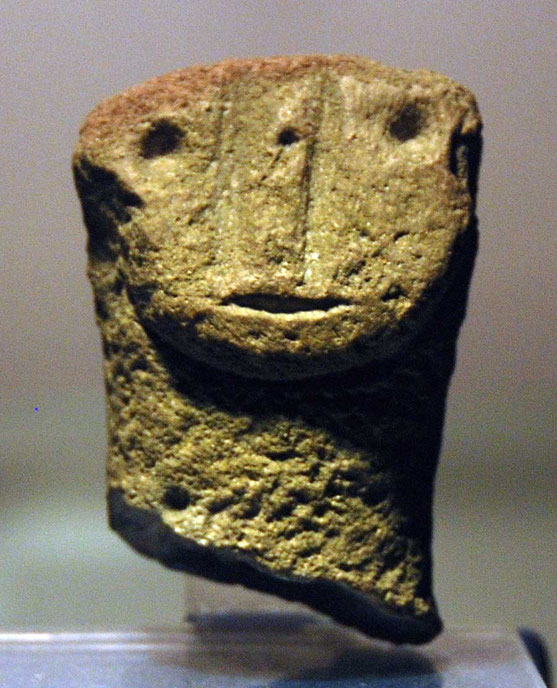 Human faced idol carved in andesite Neolithic (7th Century BC): Museum of Cyprus Nicosia