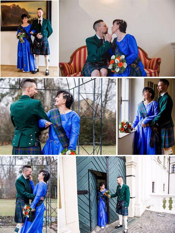 Keltische Hochzeit, Edelmann & Highlander, Seide, keltische Triade. Ma+gefertigt im Atlier Mittelalter-Fashion.