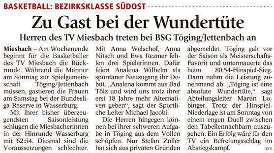 Artikel im Miesbacher Merkur am 20.1.2018 - Zum Vergrößern klicken
