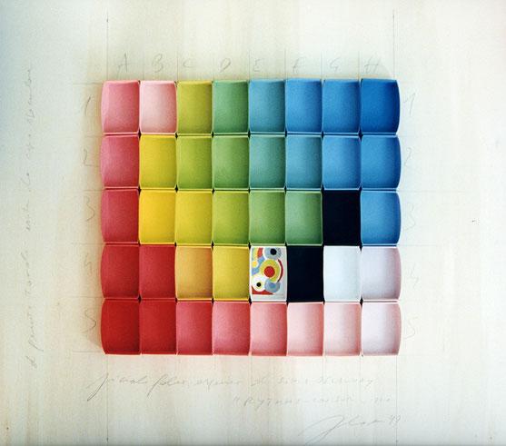 PICCOLO FALSO ESPANSO DI SONIA DELAUNAY RYTHME COULEUR - 1970 / box, tempera / 50×50cm / 1999