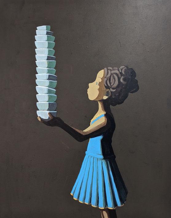 ballerina's tower - Acryl auf Leinwand, 100x80cm, 2020 | verkauft
